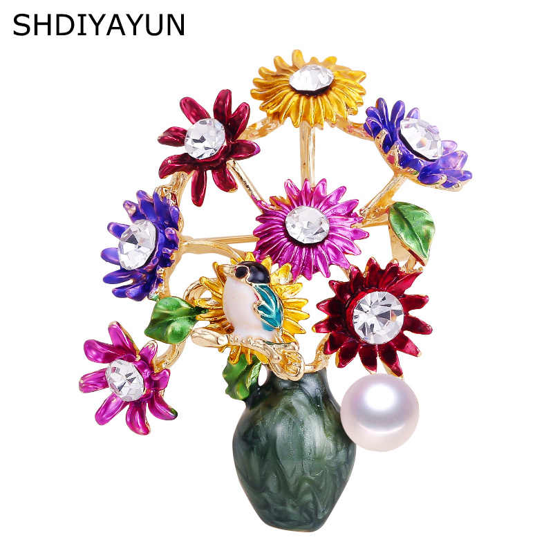 SHDIYAYUN New Pearl Brooch Flower Vase Brooch For Women Creative Enamel Brooch Pins Brooches Natural Freshwater Pearl Jewelry