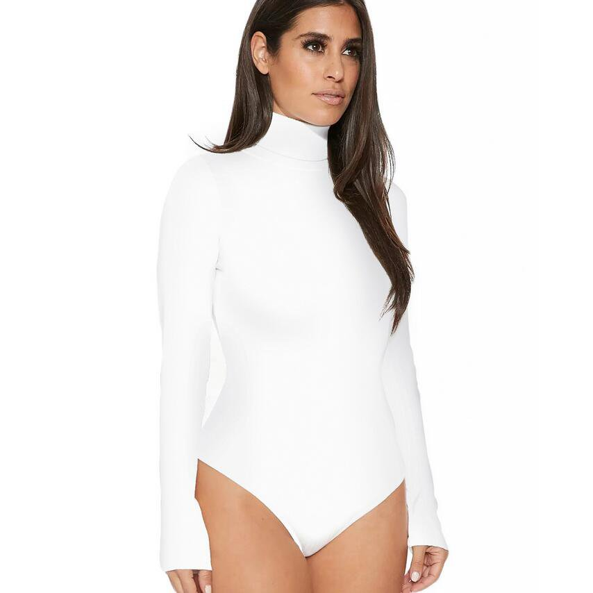 #2112 Long Sleeve Body Feminino Turtleneck Bodysuits Female Tops Thong One Piece Solid Color Sexy Bodies Woman White Black Blue