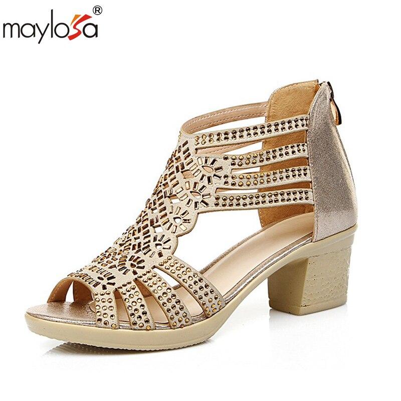 Maylosa Женская летняя обувь Сандалии для девочек со стразами босоножки на высоком каблуке женщина Пояса из натуральной кожи Гладиатор открыт...