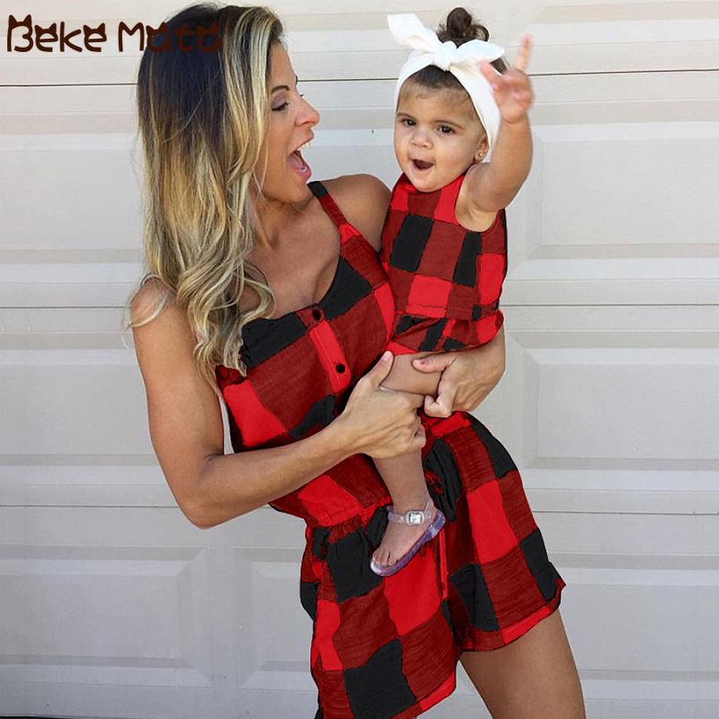 Mommy And Me Clothes Summer Mom And Daughter Sets Plaid Sleeveless Family Look Mother Daughter Jumpsuits Family Matching Outfits
