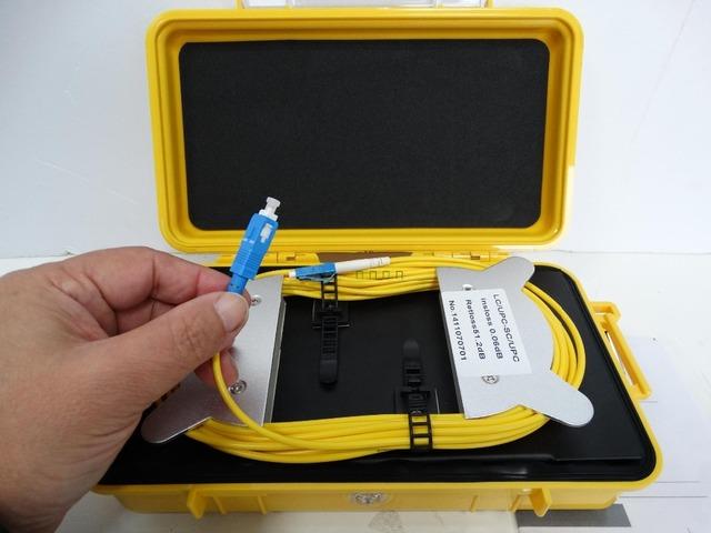 OTDR Lançamento Caixa de Cabo de fibra Óptica Monomodo 9/125um 1 km Conector Personalizado FC/SC/ST/LC