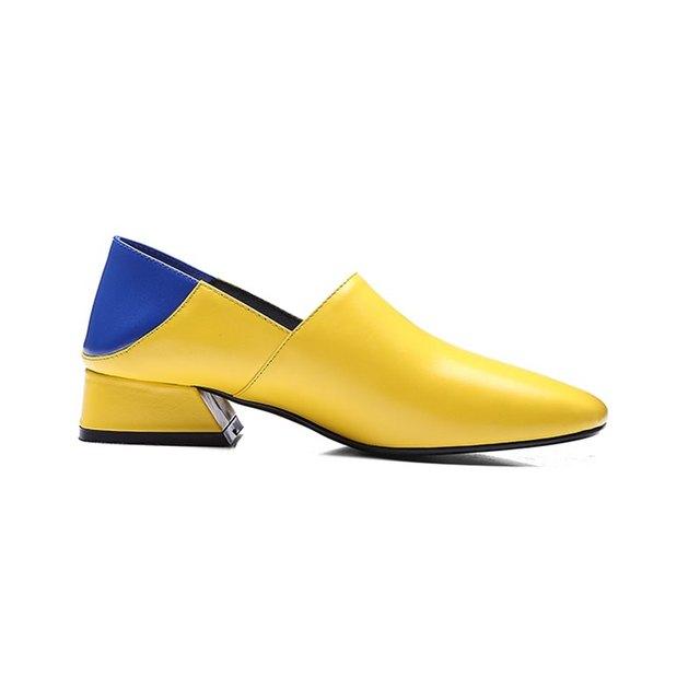ALLBITEFO Genuine Leather Square Toe Medium Heel Women Pumps