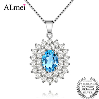 Almei 0.8CT Natural Blue Topaz Princess Diana Wedding Pendant Necklace Female Pure 925 Sterling Silver Jewelry with Box 10%CN001