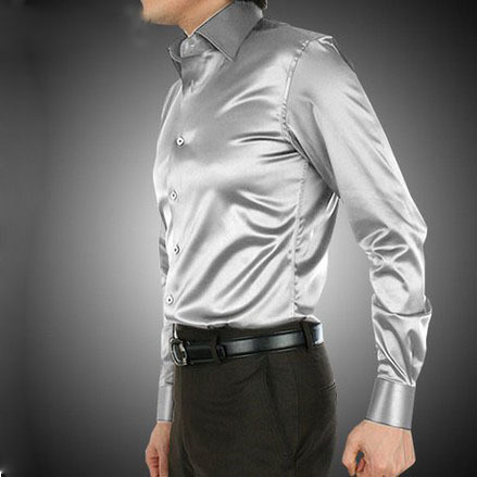 6727db98a9df1 Aliexpress.com   Buy 2017 Silver Luxury the groom shirt male long sleeve  wedding shirt men s party Artificial silk dress shirt M 3XL 21 colors FZS13  from ...