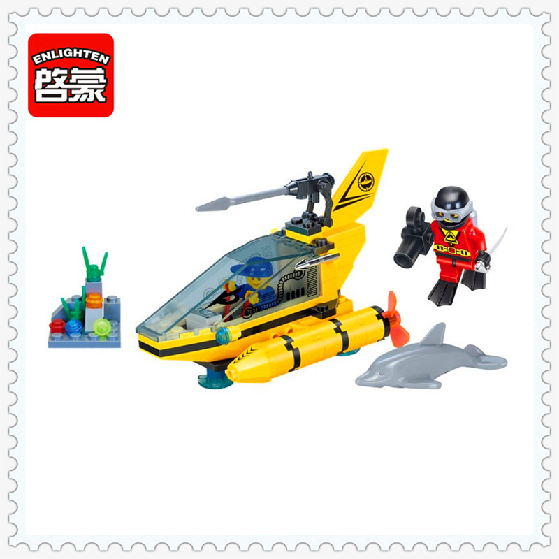 ENLIGHTEN 1215 Submarine Dolphin Observation Model Building Block 100Pcs DIY Educational  Toys For Children Compatible Legoe 0367 sluban 678pcs city series international airport model building blocks enlighten figure toys for children compatible legoe