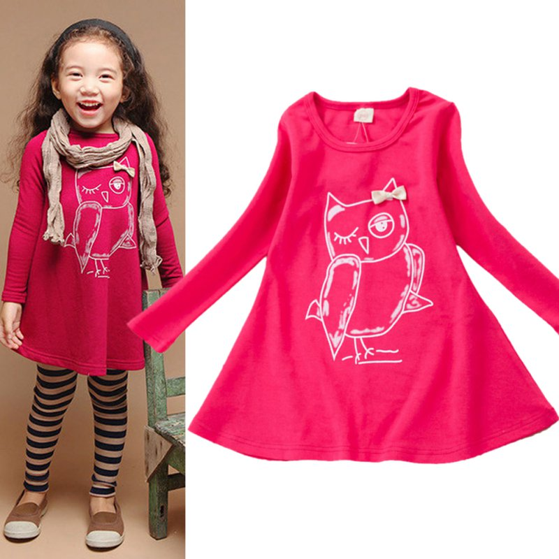 New-Spring-Dress-Fashion-Girl-Long-Sleeves-Cotton-Baby-Casual-Dress-Girls-Cartoon-Owl-Baby-Clothes-2