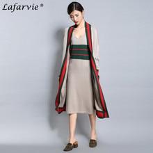 Lafarvie 2017 Fashion Cashmere Blended Summer Dress V-Neck Spaghetti Strap Straight Sleeveless Casual Soft Female Knitted Dress
