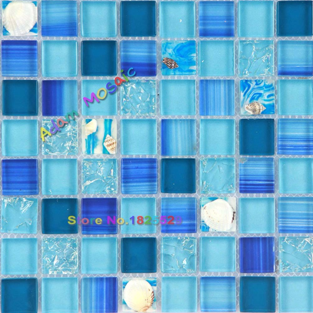 Ocean blue mosaic tile bathroom wall tiles kitchen backsplash glass ocean blue mosaic tile bathroom wall tiles kitchen backsplash glass conch sea shell sheets in wallpapers from home improvement on aliexpress alibaba dailygadgetfo Image collections