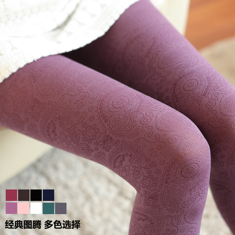 W101 winter warm thick tights Royal Peacock tail Phoenix feather Totem vintage dark pattern sexy women tights free size 9 colors ...