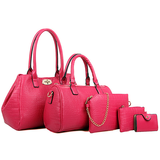 2016 Brand Designs Women Bag Alligator Print Leather Handbags Casual Travel Shoulder Bag Messenger Bag Purse Female Bags 5 Sets