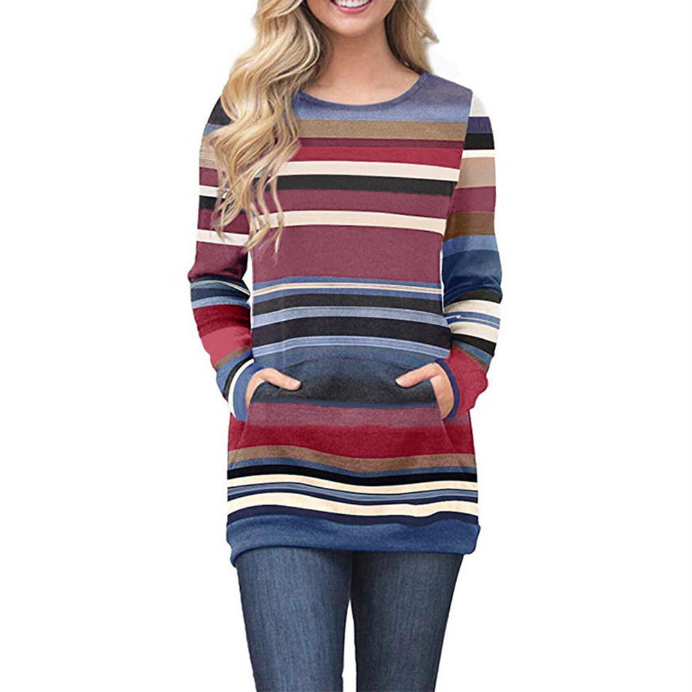 2018 Fasion Women Long Sleeve Solid Sweatshirt Size S/M/L/XL Blue red color Pullover Tops Casual Blouse Sweatshirt