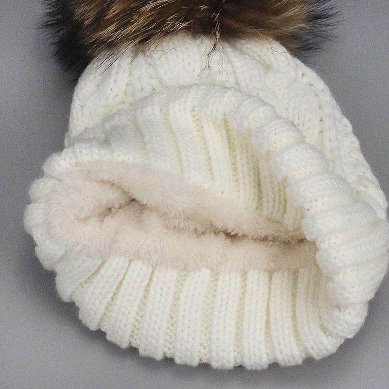 8cd69dfb30ffe3 ... Winter Women Pom Pom Hats Lining Heater Beanies Add velvet Fleece  Inside Warm Solid Black White ...