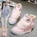 Ioutfit Blanco Rosa de Las Mujeres de Invierno Botas de Plataforma de Cuña Oculta Zapatos Botines de Piel de Conejo Botas Altas De Mujer Laarzen Dames