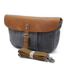 82075K Europe and America style New Fashion Men Canvas Single Shoulder Bag with cow leather Messenger Bag