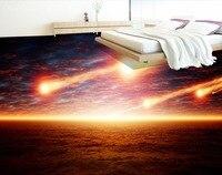 3D Floor Murals Wallpaper Custom Meteorite Falling Meteor Bathroom Mural Self Adhesive Wallpaper Pvc Waterproof Papel