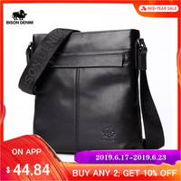 BISON DENIM Brand Men Shoulder Bag Genuine Leather 10.5 Ipad Black Cowhide Crossbody Bag for Men Casual Messenger Bags N2357 1
