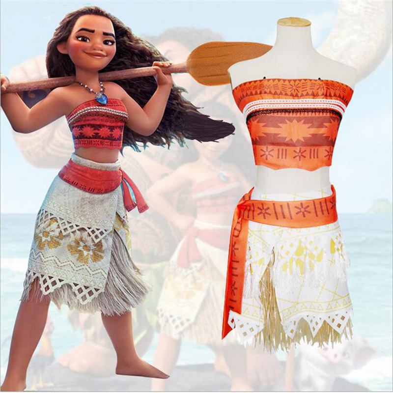 New Moana Princess Dress Necklace Set Cosplay Costume Movie Moana For Girls Children Women's Skirt Halloween Performance Clothes