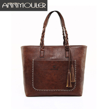купить Annmouler Vintage Bag for Women Pu Leather Casual Tote Bag Design Female Handbags Large Brown Shoulder Bag 4 Colors OL Bags по цене 949.71 рублей