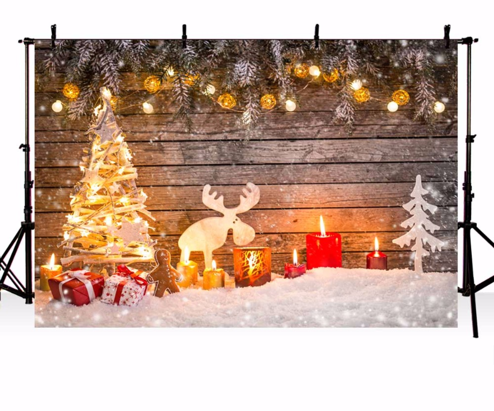 Goede kopen vinyl fotografie achtergrond kerstboom kaarsen elanden