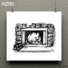 Warm fireplace Clear Stamps/seal for DIY Scrapbooking/Card Making/Photo Album Decoration Supplies warm fireplace clear stamps seal for diy scrapbooking card making photo album decoration supplies