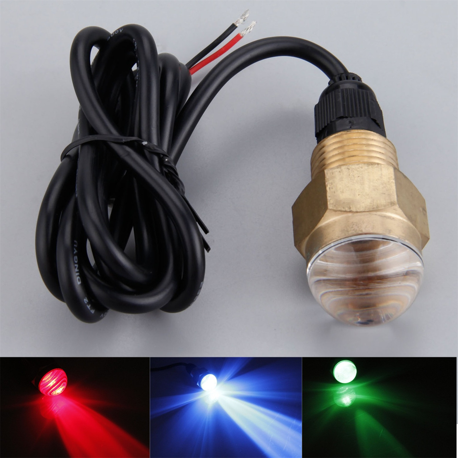1pc Boat Yacht Brass 12V DC 12W Underwater Lamp Super Bright Blue/ Red/ Green Led Light 3 Colors Rowing Boats Accessories Marine