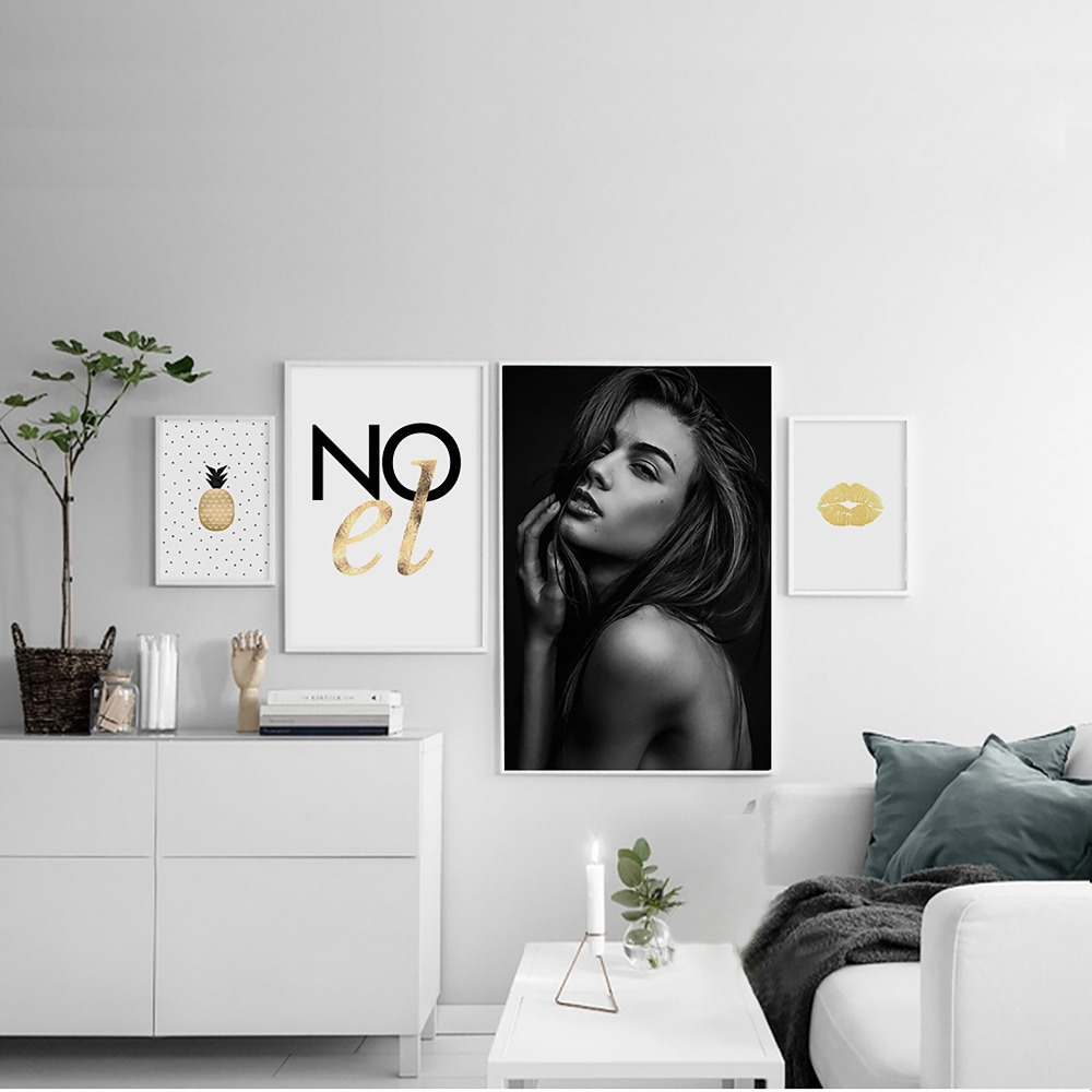 Fashion Golden Sexy Lips Rose Kiss Black Beautiful Girl Nordic Simple Pineapple Painting Poster Wall Art Pictures Home Decor