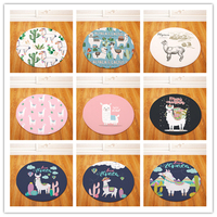 Round Carpets for Living Room Alpaca Printed Parlor Bedroom Chair Rugs Toilet Bath Decorate Non slip Door Mat