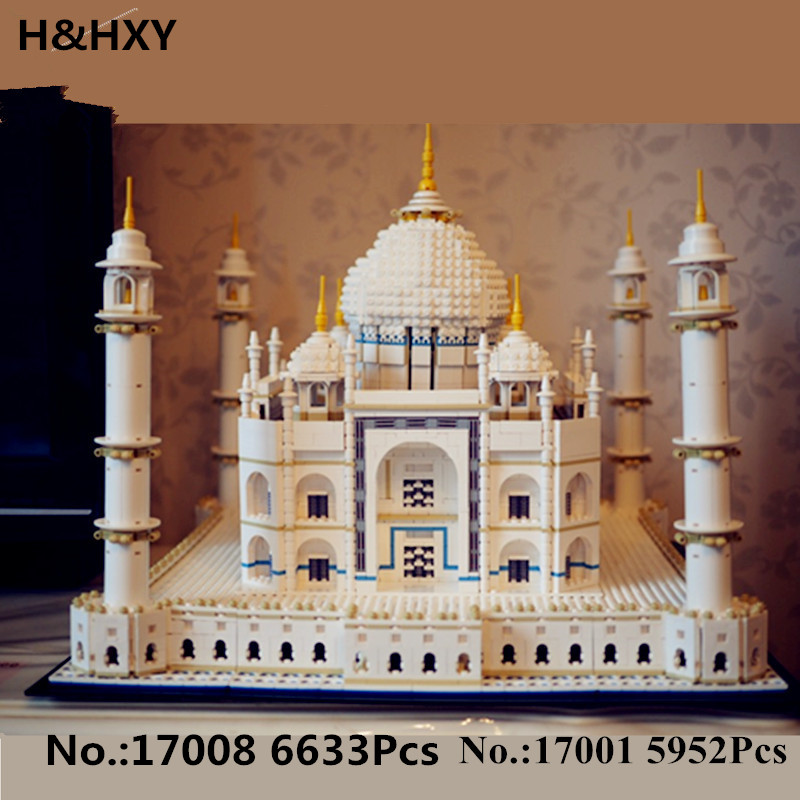 H HXY IN STOCK New 17001 5952pcs 17008 6633 pcs The taj mahal Model LEPIN Building