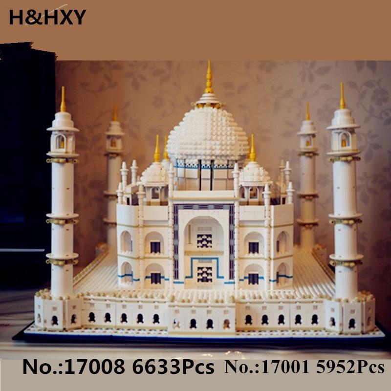 H&HXY IN STOCK New 17001 5952pcs 17008 6633 pcs The taj mahal Model LEPIN Building Kits Brick Toys 10189 Christmas Gift