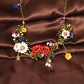 Les nova Luxe florescente flores colar para as mulheres luxo elegante Noble Lady jóias acessórios de casamento festa de formatura