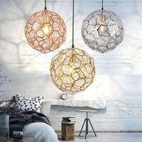 LukLoy Modern Pendant Light Diamond Frame Shape Nordic Web Ball Hanging Lamp for Kitchen Living Room Shop Restaurant Bar Decor