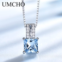 UMCHO Elegant Necklaces Pendants 925 Sterling Silver Jewelry Created Sky Blue Topaz Necklace Wedding For Women Gift With Chain