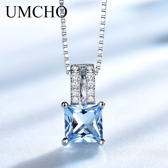 UMCHO colliers en argent Sterling 925, pendentifs élégants, bijoux en topaze bleu ciel, cadeau de mariage pour femmes, avec chaîne