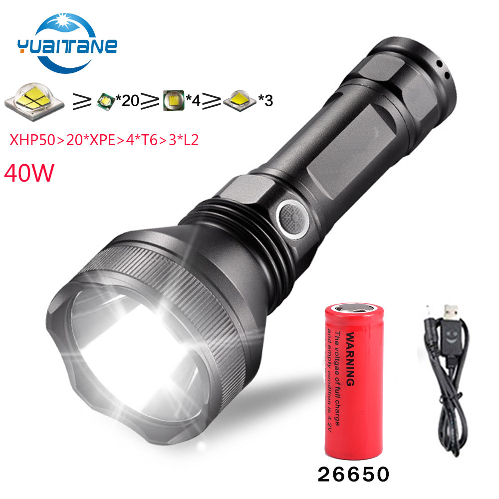 Led Lighting Led Flashlights Flashlight Led Cree Xhp50 Hard Light 30w Built-in 32650 Lithium Battery Power Bank Shock Resistant Self Defense Car Led Torch