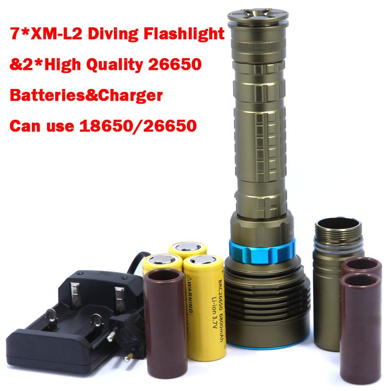 14000LM 70W 7* XM-L2 LED Diving Flashlight Torch 200M Underwater Waterproof LED Flash Light Lantern+ 3*26650 Batteries+ Charger 5x xml l2 12000lm led waterproof diving flashlight magswitch diving torch lantern led flash light 2x18650 battery charger