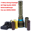 14000LM 70W 7* XM-L2 LED Diving Flashlight Torch 200M Underwater Waterproof LED Flash Light Lantern+ 3*26650 Batteries+ Charger