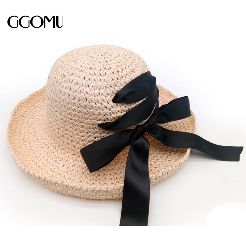 dropshipping Summer New Women s Sun Hat Black Bowknot Ribbon Flanging Straw  Hat wide brim girls folded Beach hat 6acd8199cc94