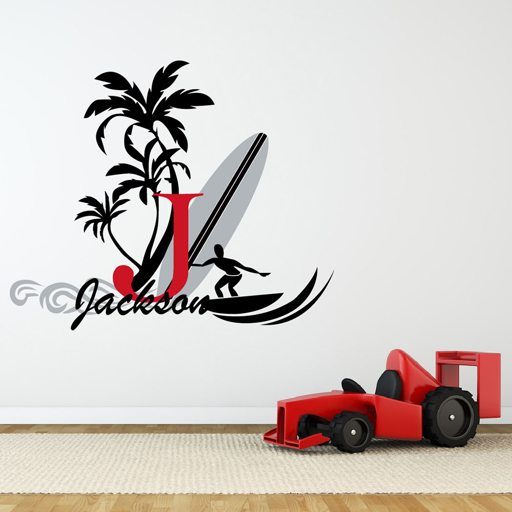 Surfboard with name wall decal baby palm tree vinyl wall decals surfboard with name wall decal baby palm tree vinyl wall decals boy nursery wall stickers summer holiday name stickers 623c 2 in wall stickers from home amipublicfo Gallery