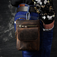 Retro Oil Wax Genuine Leather Universal Outdoor Waist Phone Bag Pouch Case For Doogee T5 Lite