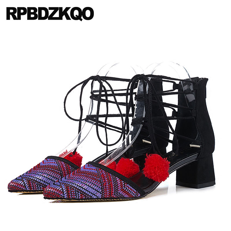 Designer Brand Shoes Women Multi Colored Folk Pom Poms Pointed Toe Lace Up Runway Suede Retro Strappy Medium Heels Thick VintageDesigner Brand Shoes Women Multi Colored Folk Pom Poms Pointed Toe Lace Up Runway Suede Retro Strappy Medium Heels Thick Vintage