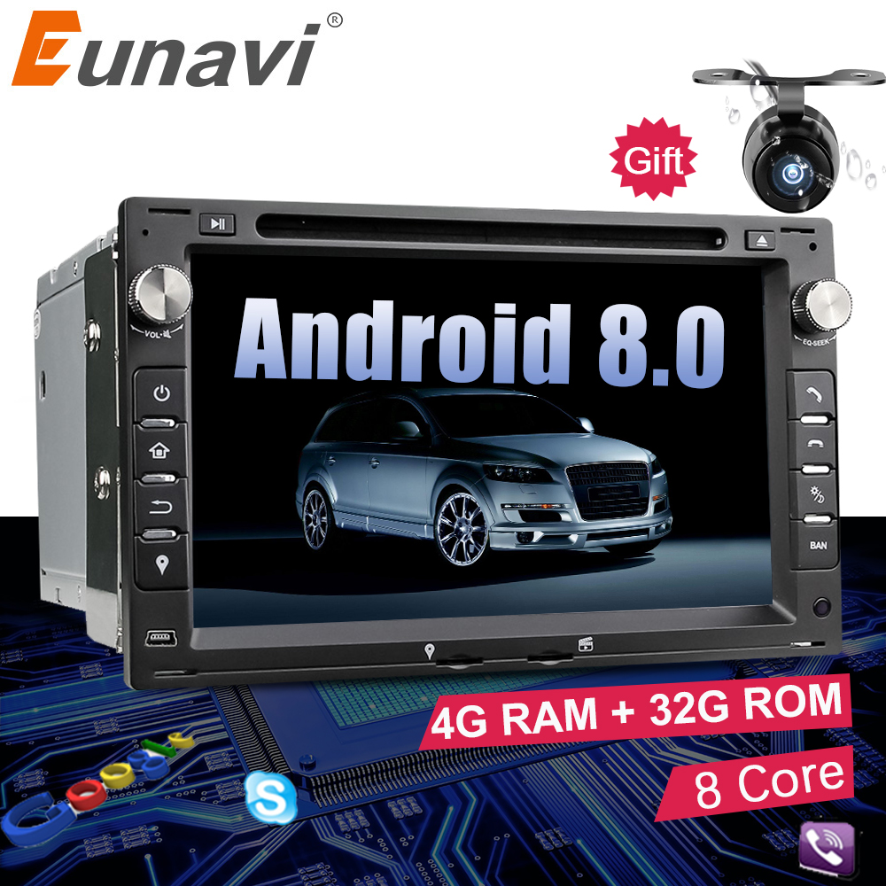 Eunavi Octa Core 4GB RAM 2 din Android 8.0 7'' Car DVD GPS Navi For VW Glof Bora Passat Mk5 Golf Mk4 Polo Jetta Seat Peugeot 307 android 6 0 9 octa core 64bit 4gb ram car stereo for skoda seat vw bora jetta golf plus passat cc touran tiguan sharan polo mk5