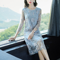 Light blue dress women clothes elegant lace long sleeve party gown dresses plus size large big robe embroidery autumn winter