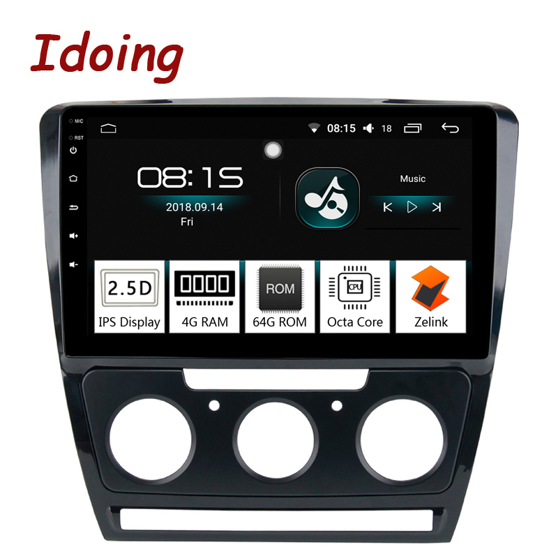 Idoing 10.2 1Din 2.5D Voiture Android 8.0 Radio Multimédia Lecteur Fit Skoda Octavia 2007-2014 4g + 64g GPS Navigation Rapide Boot Wifi