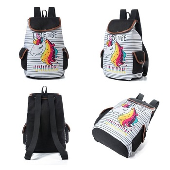 Unicorn Printed Canvas Backpack For Teenager