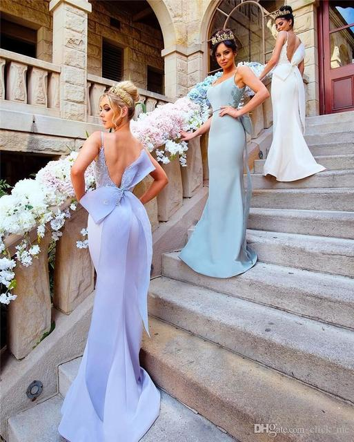 Lavender Backless Bridesmaid Dresses Long Spaghetti Mermaid Prom Dress With Big  Bow Lace Appliques Maid Of Honor Gowns B256 d9c48751849c