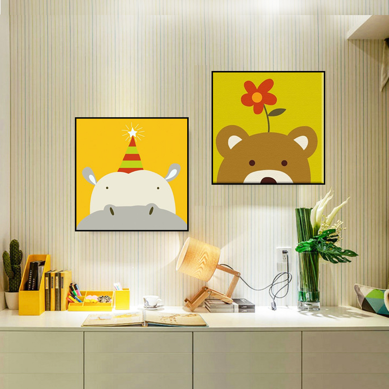 Wall Painting for Bedroom Coloring by Numbers Animals Bear Painting ...