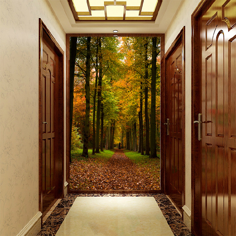 Customized Medium-size 3D Mural Wallpaper Green Space Expansion Pattern With Sunshine Forest Path The Corridor Enter Hall