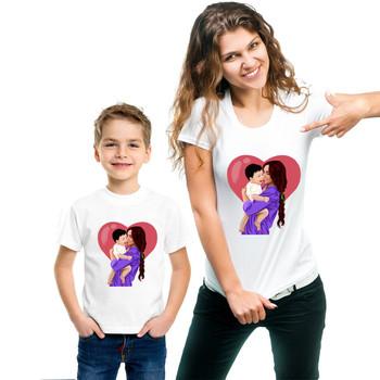 Matka i syn T-shirt kobiety chłopiec rodzina pasujące ubrania matka mama dziecko Tees dzień matki prezent tanie i dobre opinie Sincerity Create CN (pochodzenie) Koszulki Moda Krótki Pasuje prawda na wymiar weź swój normalny rozmiar COTTON Cartoon