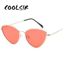 COOLSIR Retro Cat Eye Sunglasses Women Yellow Red Lens Sun glasses Fashion Light Weight Sunglass for women Vintage Metal Eyewear