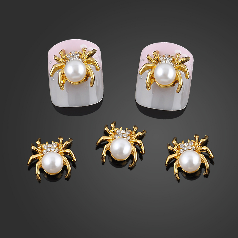 New Glitter Gold Spider 3d Nail Charms Jewelry DIY Pearl Alloy Nail Art Decorations Nails Tools Stickers Free Shipping 10pcs pack glitter green rhinestones nail art decorations alloy 3d nail jewelry charms nails tools free shipping